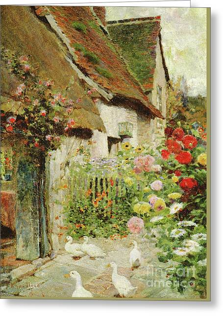 A Cottage Door Greeting Card by David Woodlock