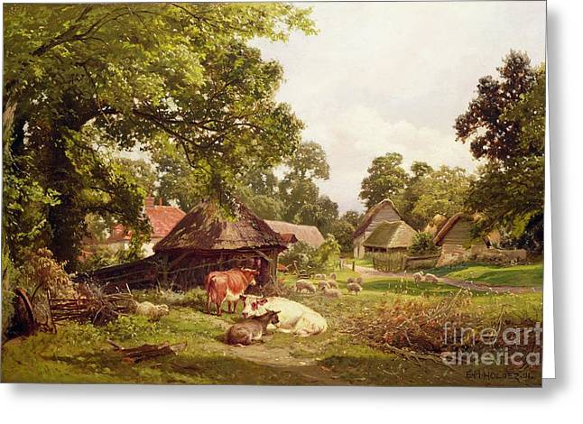 Country Scenes Greeting Cards - A Cottage Home in Surrey Greeting Card by Edward Henry Holder