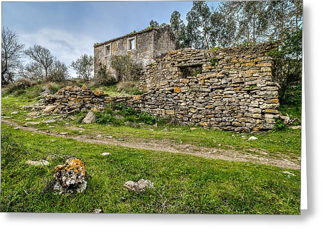 A Cottage In Ruins Greeting Card by Marco Oliveira