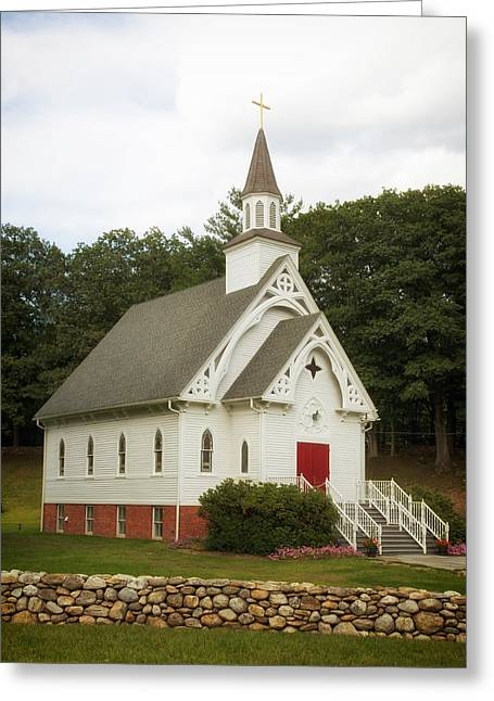 A Country Church In Connecticut Greeting Card by Mountain Dreams