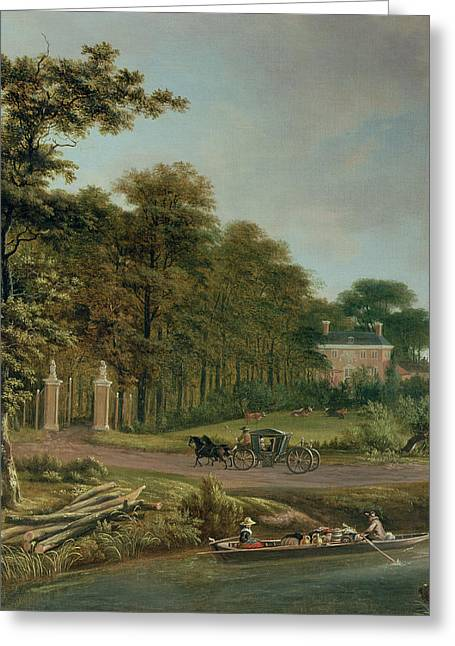 A Country House Greeting Card by J Hackaert