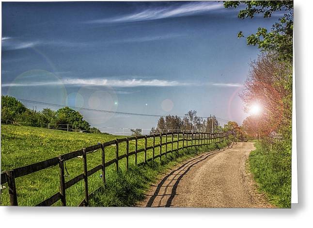A Country Lane Greeting Card by Martin Newman
