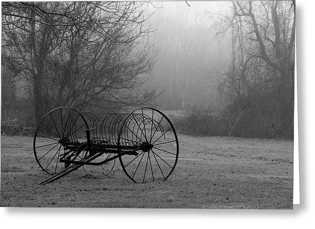 A Country Scene In Black And White Greeting Card by Karol Livote