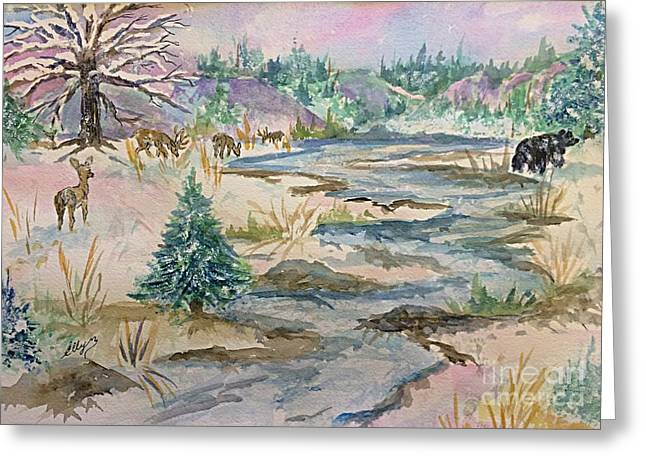 A Country Winter - Deer And Black Bear  Greeting Card by Ellen Levinson