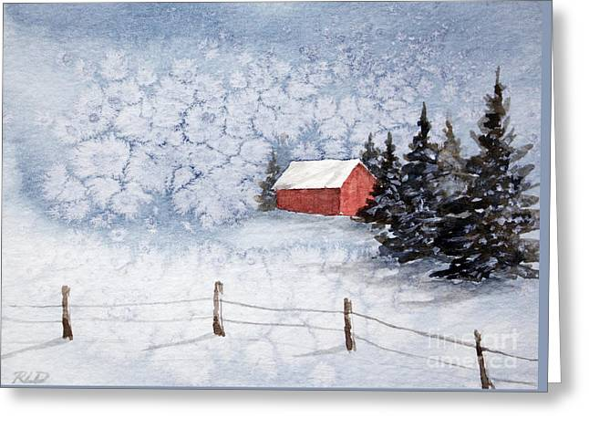 A Country Winter Greeting Card by Rebecca Davis