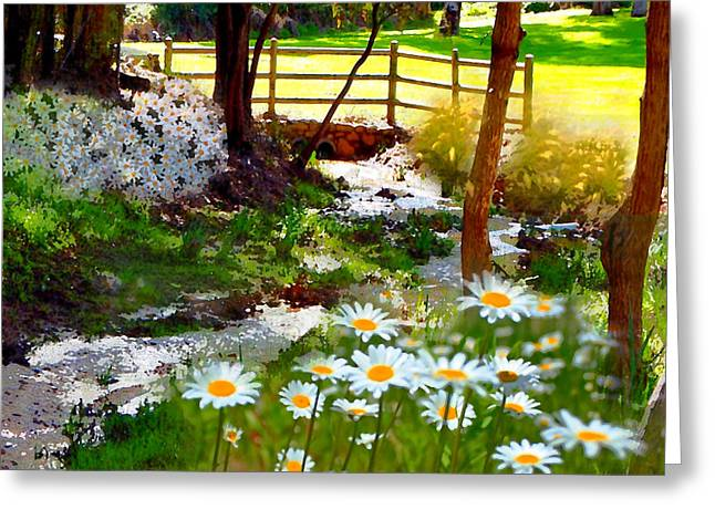 A Country Stream With Wild Daisies Greeting Card