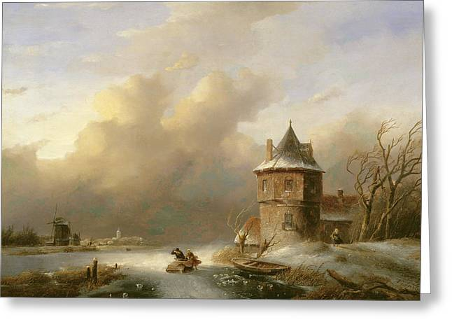 A Couple Crossing The Ice In Windy Weather  Greeting Card by Jan Jacob Spohler