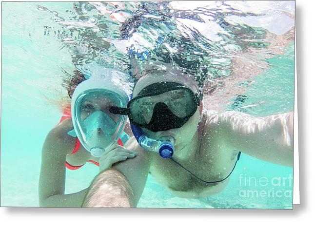 A Couple In Love Taking Selfie Underwater In Indian Ocean, Maldives Greeting Card by Michal Bednarek