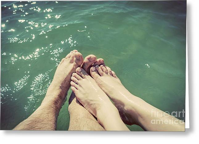 A Couple In Love Wetting Their Feet In The Sea. Summer Holidays. Vintage. Greeting Card by Michal Bednarek