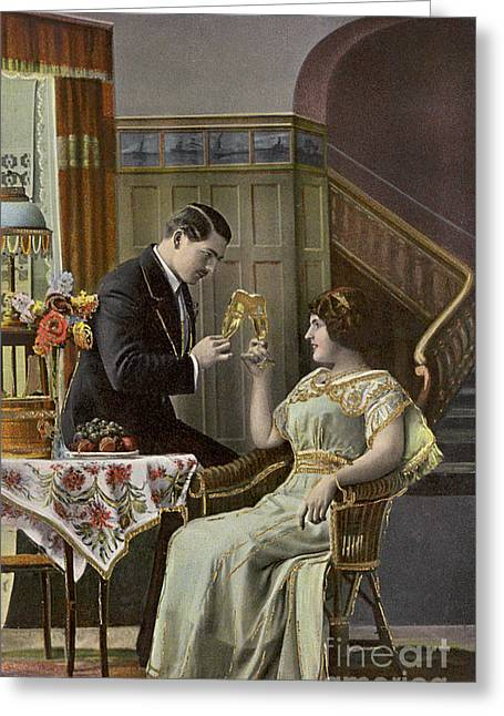 A Couple Toasting Each Other's Wine Glasses Greeting Card by English School