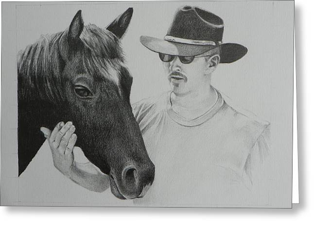 Still Life Photographs Drawings Greeting Cards - A Cowboy and His Horse Greeting Card by David Ackerson