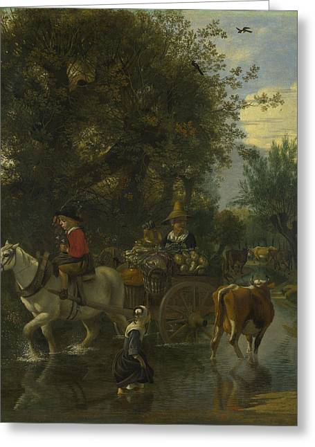 A Cowherd Passing A Horse And Cart In A Stream Greeting Card