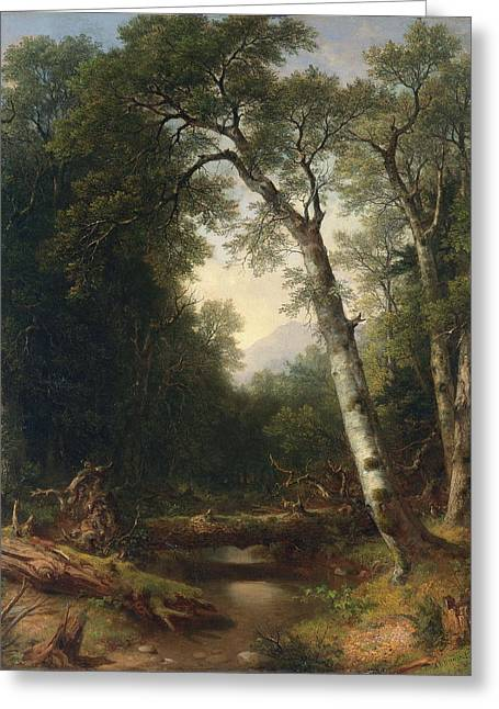 A Creek In The Woods Greeting Card by Asher B Durand