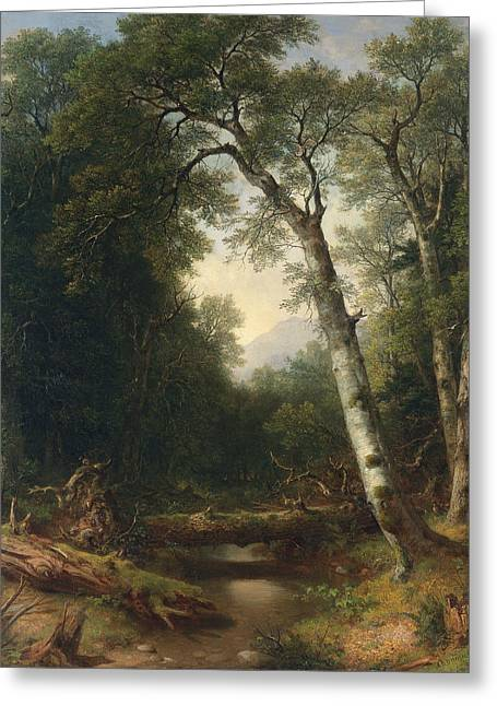 A Creek In The Woods Greeting Card by Asher Brown Durand