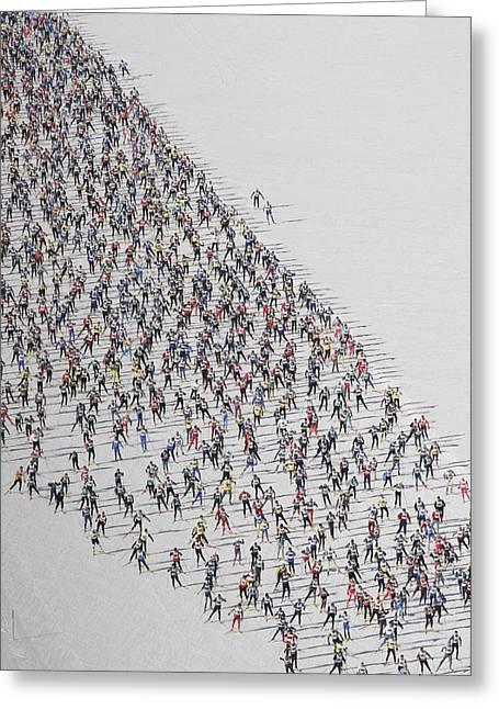 A Cross Country Ski Marathon Greeting Card by Melissa Farlow