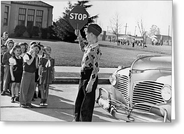 A Crossing Guard Holds Up Sign Greeting Card by Underwood Archives
