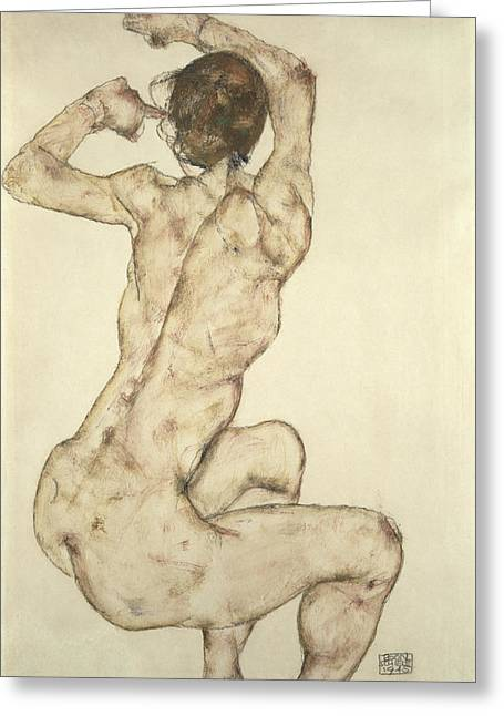Recently Sold -  - Female Body Greeting Cards - A Crouching Nude Greeting Card by Egon Schiele