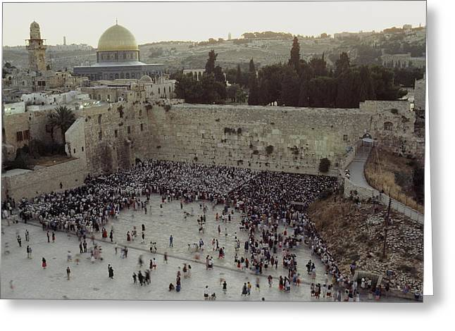 Group Of People Greeting Cards - A Crowd Gathers Before The Wailing Wall Greeting Card by James L. Stanfield