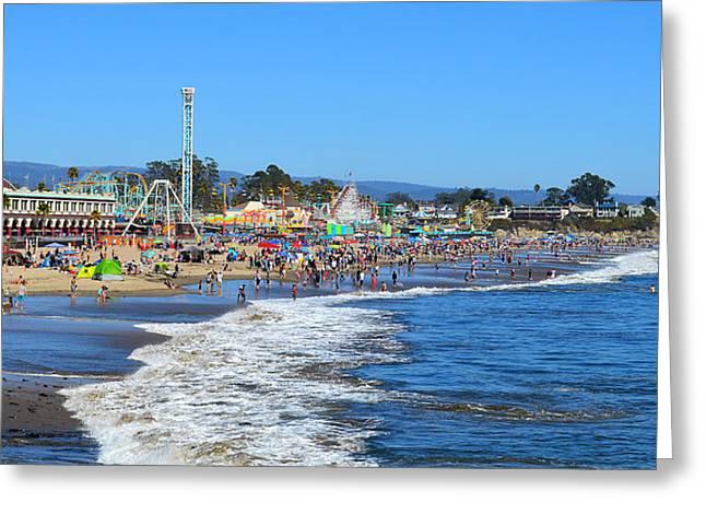 A Crowded Beach In Santa Cruz Greeting Card