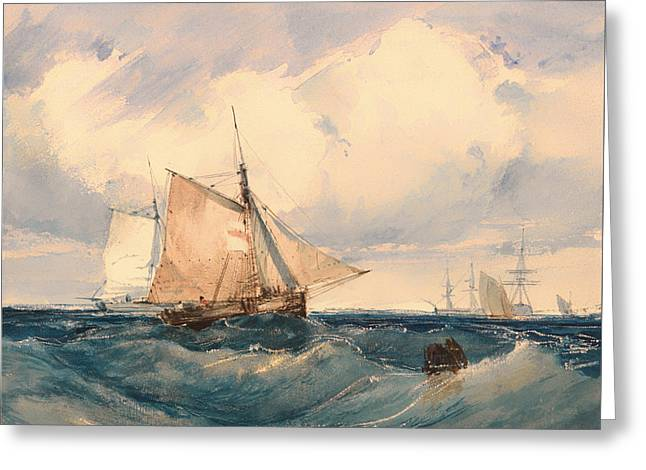 A Cutter And Other Shipping In A Breeze Greeting Card
