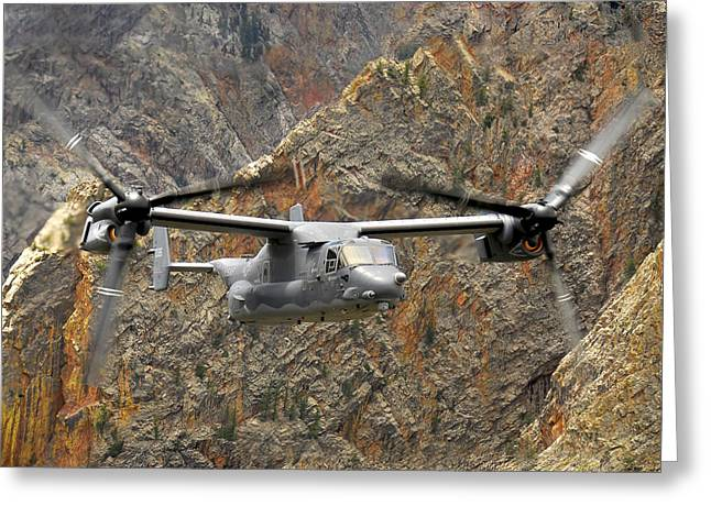 Rotation Greeting Cards - A Cv-22 Osprey Flies Over The Canyons Greeting Card by Stocktrek Images