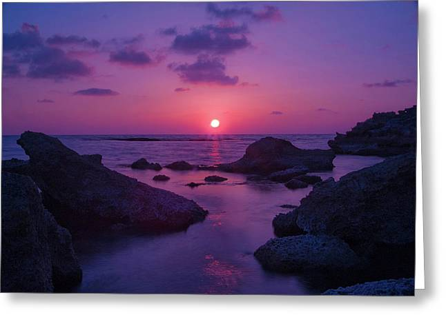 A Cypriot Sunset Greeting Card by Amanda Finan