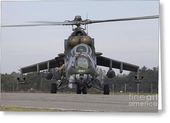 A Czech Air Force Mi-24 Hind Gunship Greeting Card by Timm Ziegenthaler
