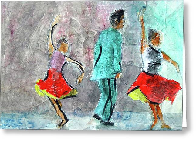 A Dance For Three Greeting Card by Donna Crosby