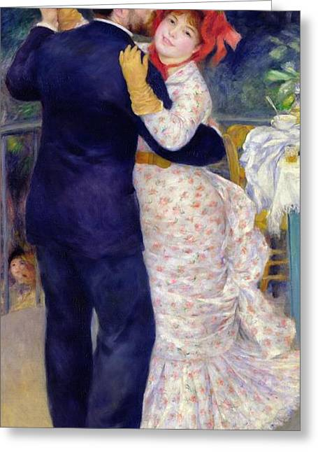 Dance Greeting Cards - A Dance in the Country Greeting Card by Pierre Auguste Renoir