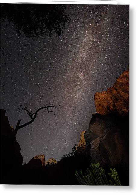 A Dark Night In Zion Canyon Greeting Card