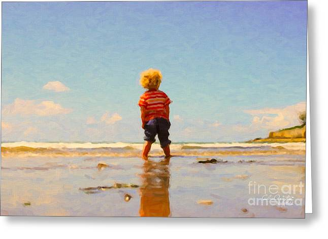 Greeting Card featuring the painting A Day At The Beach by Chris Armytage