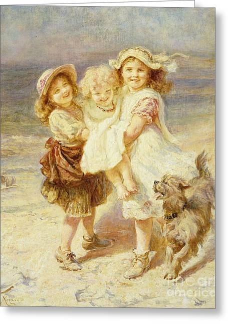 A Day At The Beach Greeting Card by Frederick Morgan