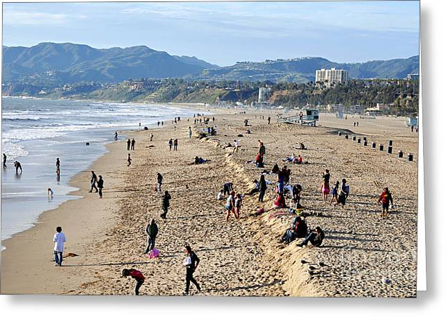 A Day At The Beach In Santa Monica Greeting Card by Clayton Bruster