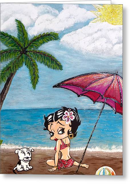 A Day At The Beach Greeting Card by Teresa Wing