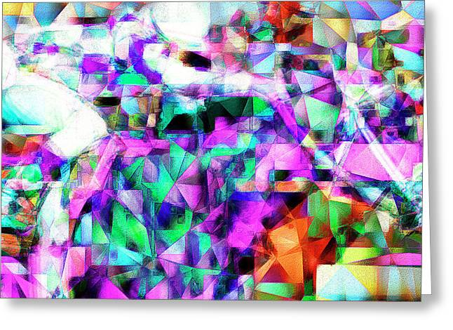 A Day At The Horse Race Track In Abstract Cubism 20170329 Square Greeting Card by Wingsdomain Art and Photography