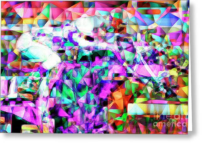 A Day At The Horse Race Track In Abstract Cubism 20170329 Greeting Card by Wingsdomain Art and Photography