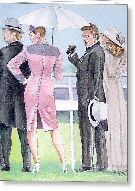 A Day At The Races Greeting Card by Arline Wagner