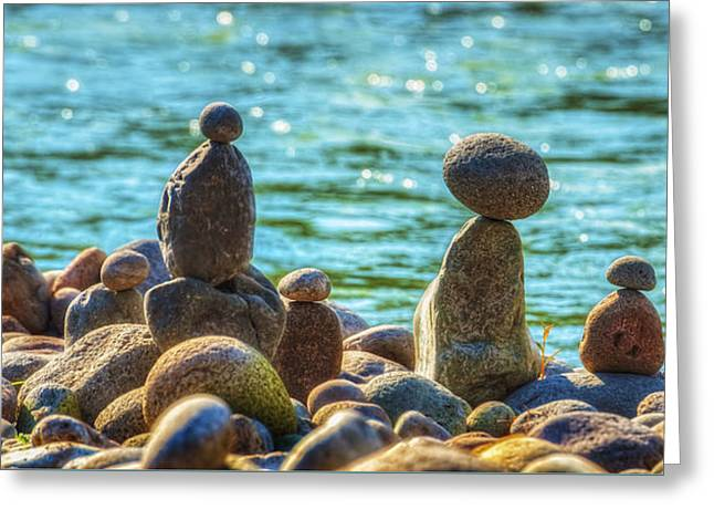 Stacked Rocks On Rivers Bank Greeting Card