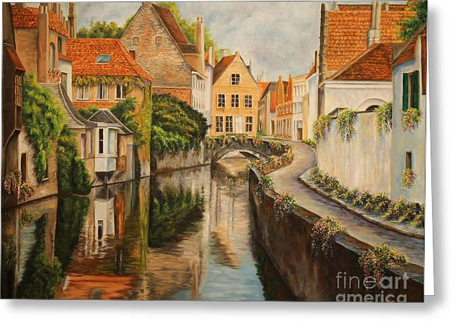 Landscape Artist Greeting Cards - A Day in Brugge Greeting Card by Charlotte Blanchard