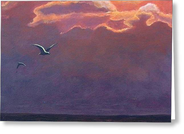 Greeting Card featuring the painting A Day In Galveston by Suzanne Theis