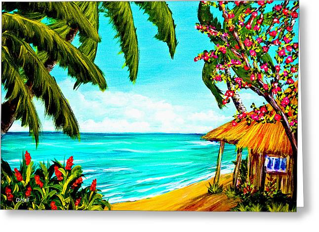A Day In Paradise Hawaii Beach Shack  #360 Greeting Card by Donald k Hall