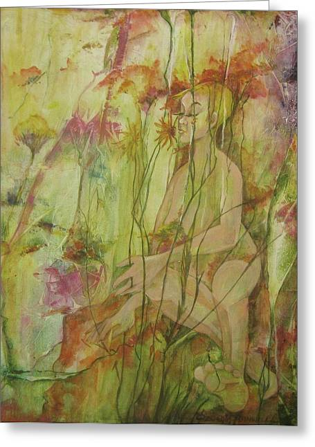 A Day In The Flowers Greeting Card by Georgia Annwell