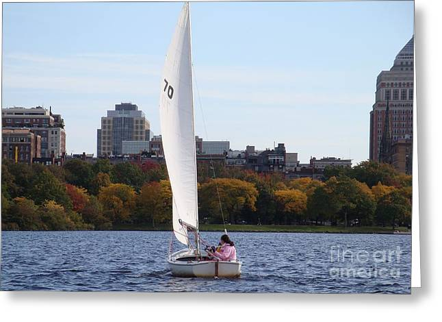 a day on the Charles Greeting Card by Robyn Leakey