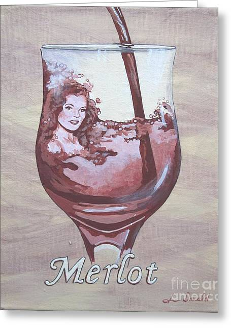 A Day Without Wine - Merlot Greeting Card by Jennifer  Donald