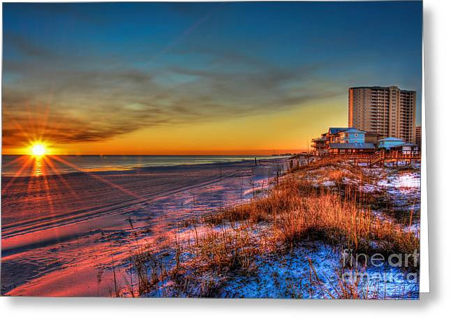 Greeting Card featuring the photograph A December Beach Sunset by Ken Johnson