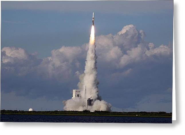 A Delta Iv Rocket Soars Into The Sky Greeting Card