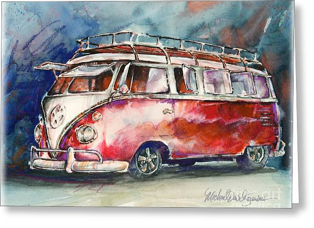 A Deluxe 15 Window Vw Bus Greeting Card by Michael David Sorensen