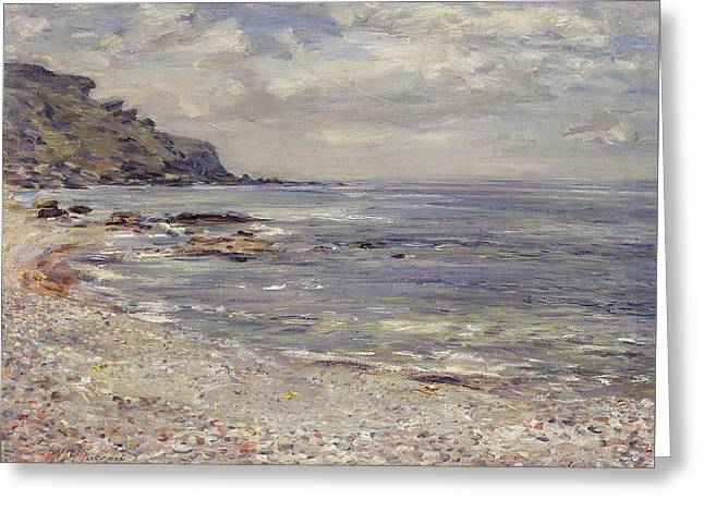 Beach Landscape Paintings Greeting Cards - A Deserted Rocky Shore Greeting Card by William McTaggart