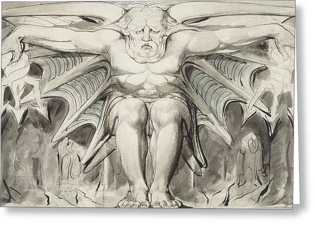A Destroying Deity Greeting Card by William Blake