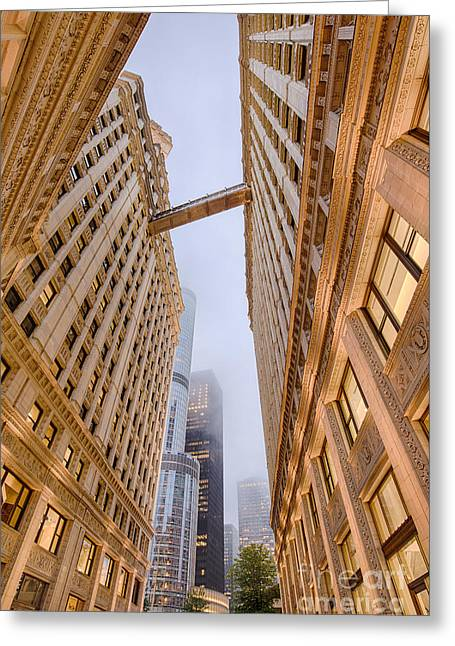 A Different Perspective Of The Wrigley Building And Trump Tower Playing Hide And Seek - Chicago Greeting Card by Silvio Ligutti